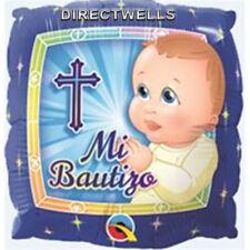 "Baptism "" Mi Bautizo Prayer Boy "" Blue Foil / Mylar Balloons ( 2 Balloons ) 18"""