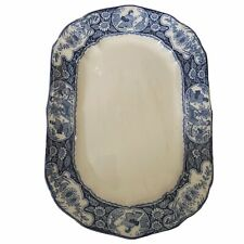 More details for wood and sons buddha serving plate platter rectangle blue white vintage 31cm