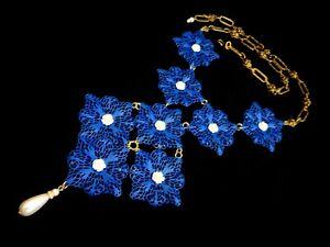 Massive Bib Necklace Blue Filigree White Roses Victorian Revival Statement Piece