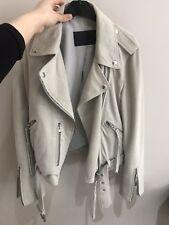 All Saints Light Grey White suede balfern jacket Size S