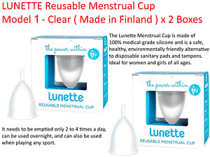 2 x LUNETTE Reusable Menstrual Cup Model 1 -  Clear ( Made in Finland ) FREEPOST