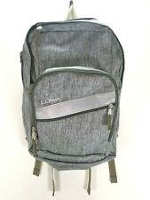LL Bean Book Bag School Backpack Static Gray & Olive Green