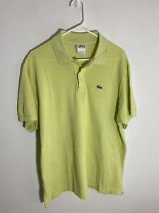 Vintage Lacoste Men's Polo 7 XXL 2XL Chartreuse Green Short Sleeve