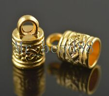 30ps Golden Plated Tibetan Corved End Caps Kumihimo/Ratta?il/Cord 7mm Charms