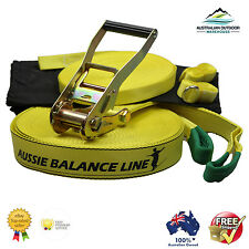 Slackline Flatline 15m Aussie Trickline Balance line+ 2nd learning line to hold