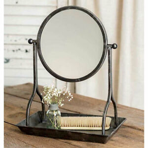 Vanity Tray with Round Mirror