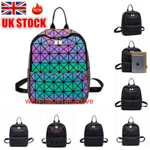 UK Women Bags Geometric Luminous Backpack Holographic Zipper Closure Handbag Hot