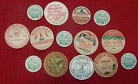 14 UNUSED VINTAGE MILK BOTTLE CAPS FARM GROCERY FOOD BEVERAGE DRINK ADVERTISING