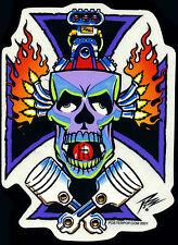 The Pizz Sticker Decal skull motor Kustom Kulture Hot Rod drag race Poster Pop