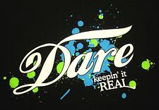 DARE cursive small T shirt Drug Abuse Resistance Education dayglo splatter tee