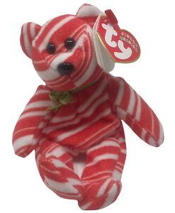 "Ty Beanie Babies Jingle Beanies Peppermint Bear 4.5"" Plush Ornament Rare 2008"