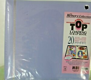 NEW MBI Top Loading Scrapbook 20 Insert Pages Blue Photo Album