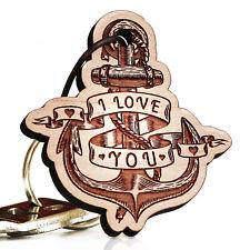 Holz Schlüsselanhänger Anker I Love You. Ich liebe dich Geschenk Freund Freundin
