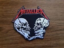 METALLICA + LOGO,IRON ON WHITE AND RED EMBROIDERED PATCH