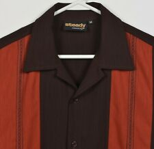 Steady Classics Men's Medium Panel Bowling Retro Brown Orange Striped Camp Shirt