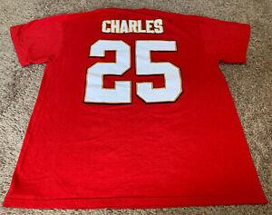Majestic Jamaal Charles Kansas City KC Chiefs Red NFL Men's Large Jersey T-Shirt