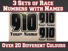 3 conjuntos 100mm de carrera número & Nombre Pegatina de vinilo Calcomanías MX motocrosstrack Bici T5