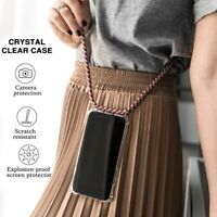 Phone Case Transparent Soft Silicone With Necklace Shoulder Neck Strap Rope
