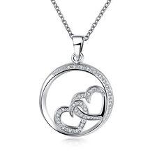 Halskette Herz in Herz Anhänger Silber mit 35 schönen Zirkonia Verlobung  Liebe