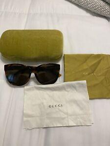 Women's Authentic Gucci Cateye Sunglasses Havana/gold/brown
