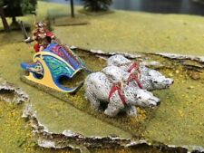 25mm painted metal fantasy polar bear chariot and driver