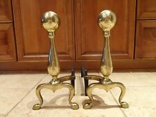 Vintage Solid Brass Andirons Cannonball Style with Log Holders - Set of 2
