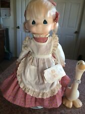 vintage precious moments dolls with her duckling and original clothes, tag,stand