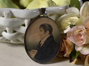 Stunning Original Antique Miniature Portrait Painting+ Antique Frame~c1820