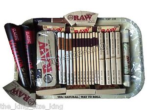 RAW Kingsize Hemp Rolling Papers And Metal Tray And Tips Set