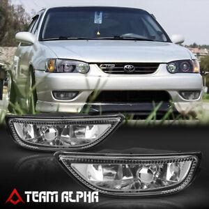 Fits 2001-2002 Toyota Corolla Pair [Clear] Bumper Fog Light Driving Lamp w/Bulb