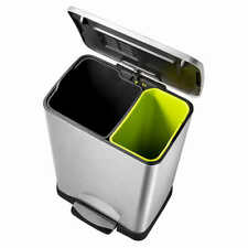 Neocube 50L Dual Compartment 28L and 18L Recycle and Trash Bin Stainless Steel