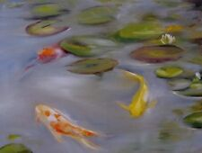 Koi Fish Original Oil PAINTING CES - Lily Pads Water Lilies Impressionistic Pond