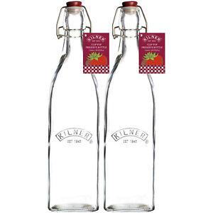 Kilner 2pcs 1L Clip Top Glass Bottle Oil Vinegar Condiments Storage Container