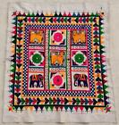 """36"""" x 31"""" Vintage Rabari Throw Embroidery Ethnic Tapestry Tribal Wall Hanging"""