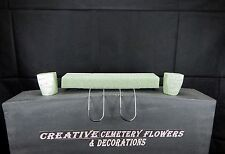 "18"" Double Cemetery Flower Headstone/Tombstone Saddle+Foam +2 Foam vase inserts"