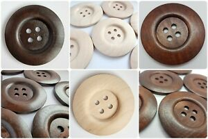LUXURY LARGE WOODEN BUTTONS - 50mm ROUND, BROWN, WOOD, SEWING UK