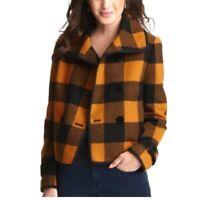 Ann Taylor Loft Womens Petites Size XSP Orange Wool Plaid Jacket Double Breasted