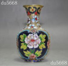 antique China bronze Cloisonne Feng Shui peony flower Bottle Pot Vase Jar Statue