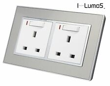 I LumoS AS Silver Satin Metal & White 13A Single/Double Sockets & Light Switches