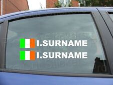 x4 Rally Race Tag Name Surname Car Window Stickers Decals Ireland Flag ref:15