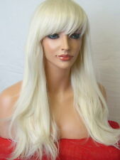 Wavy Wig Fashion Long Wavy party pale blonde synthetic Ladies full hair Wigs C5