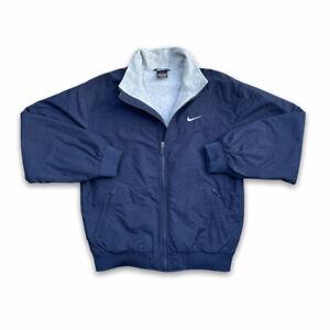 Vintage 90s Nike Jacket Size Small Mens Coat Fleece Lined Bomber Navy Swoosh