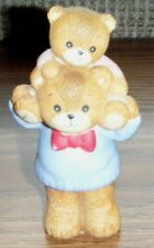 1985 Father & Child Figurine Lucy & Me Bears Enesco with Gold Foil Tag on Bottom