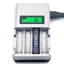 LCD Universal Ladegerät USB 4Akku Batterie Aufladegerät AA AAA Schnelladegerät^