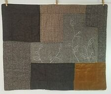 Pottery Barn Standard Pillow Sham Tweed  Houndstooth Velvet Quilted Tan Brown