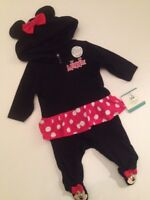 Disney Minnie Mouse Baby Girl Coverall Pajamas Size 3 6 9 Months Outfit Black