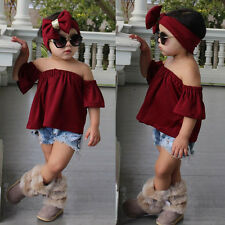 3PCS Toddler Kids Baby Girl Off Shoulder Tops+Denim Shorts Pants+Headband Outfit