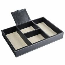 Eco-Friendly Desk Leather Organizer 4 Compartment Office Stationery Tray Drawer