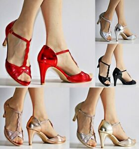 Womens Ladies Party Prom T Bar Diamante Mid High Heels Shoes Sandals Size -6206