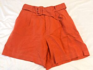 """Women's Belted High-Rise Midi Shorts - A New Day -  S Burnt Orange 5"""" Inseam"""